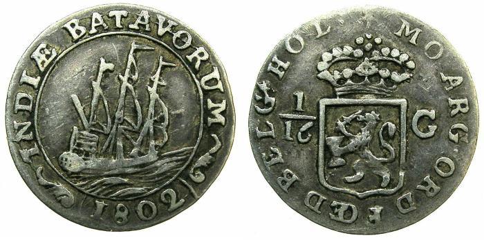 World Coins - NETHERLANDS EAS INDIES.Batavian Republic 1799-1806.AR.1/16 Gulden.1802.