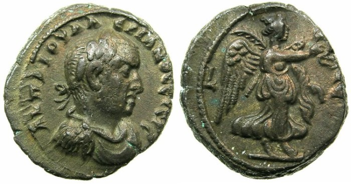 Ancient Coins - EGYPT.ALEXANDRIA.Valerian I ( The elder ) AD 253-260.Billon Tetradrachm Struck AD 259/60.~#~.Nike advancing right.