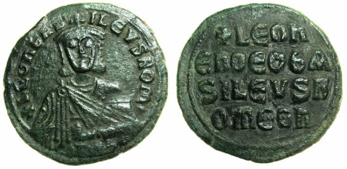 Ancient Coins - BYZANTINE EMPIRE.Leo VI The Wise AD 886-912.AE.Follis.Mint of CONSTANTINOPLE