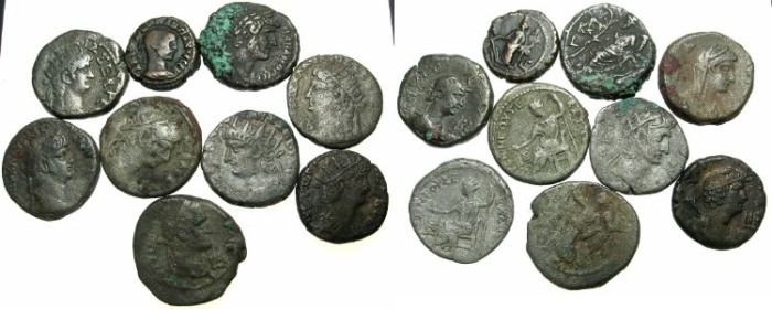 Ancient Coins - EGYPT.ALEXANDRIA.Lot of nine billon tetradrachms.