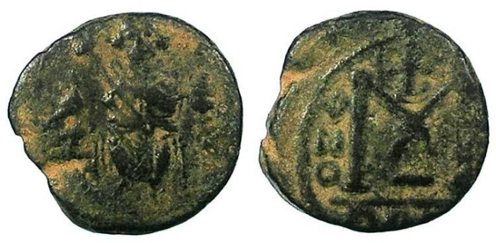 Ancient Coins - ARAB BYZANTINE Anonymous 7th cent AD AE Fals Damascus mint.Seated Imperial figure