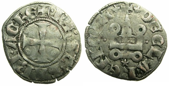 Ancient Coins - CRUSADER STATES.GREECE.Principality of ACHAIA.Philip of Savoy AD 1301-1307.Bi.Denier.Type PS3.Mint of CORINTH.