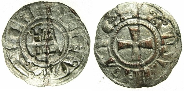 Ancient Coins - CRUSADER STATES.kingdom of JERUSALEM.Baldwin III AD 1143-1163.Billon Denier.Smooth style.