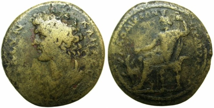Ancient Coins - PHRYGIA.LAODICEA.Time of Marcus Aurelius AD 161-180.AE.35.5mm.~~~Male head of The Senate.~#~Hades - Sarapis enthroned.