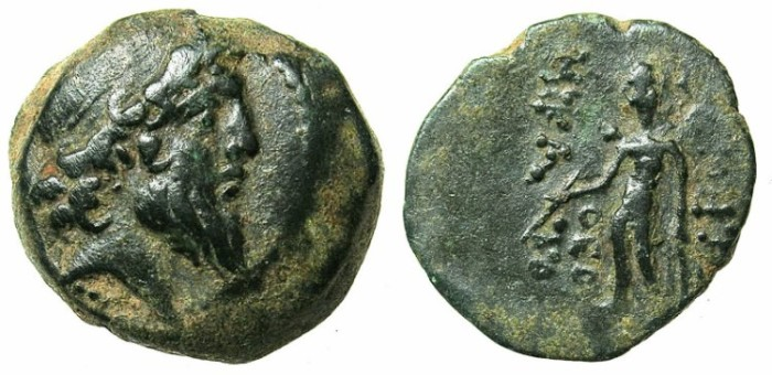 Ancient Coins - SYRIA.ANTIOCH.Demetrius II 2nd reign c.130-125 BC.AE.18.Bust of Demetrius right.Apollo.