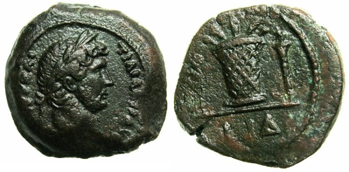 Ancient Coins - EGYPT.ALEXANDRIA.Hadrian AD 117-138.AR.Obol.AD 129/30.~#~Modius. ***VERY RARE DATE***