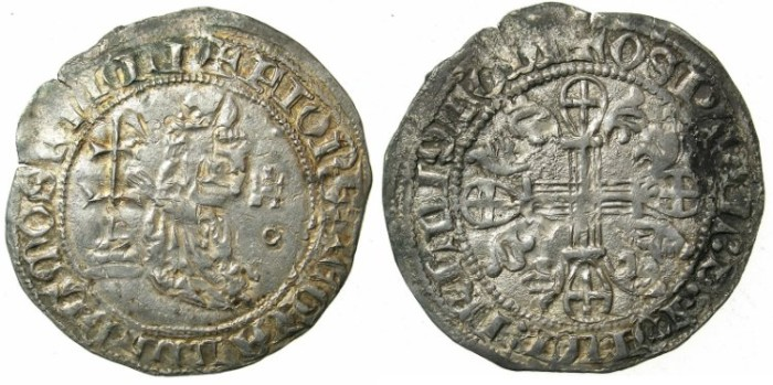 Ancient Coins - CRUSADER STATES.RHODES.Jean Fernandez de Heredia AD 1376-1396.AR.Gigliato.overstrike on Robert of Anjou?