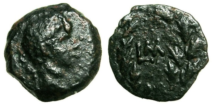 Ancient Coins - EGYPT.ALEXANDRIA.Augustus 27BC to AD 14.AE.Dichalkon, Year 40 ( AD 10/11 ).~#~Date within wreath.
