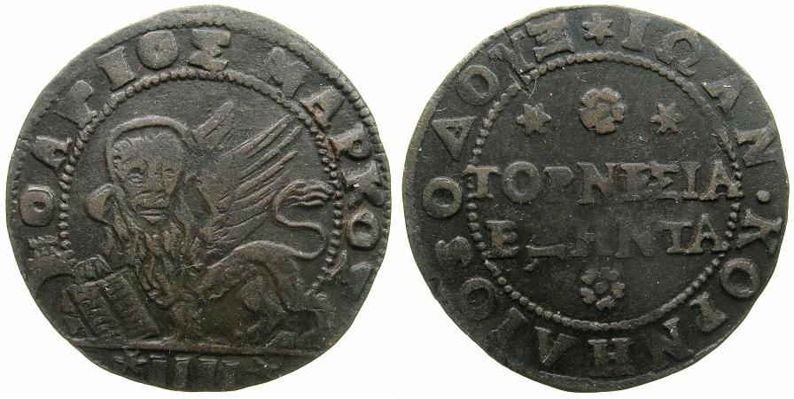 World Coins - GREECE.CRETE under VENICE.Doge Giovanni Corner AD 1625-1629.AE.60 Tornesi ( 4 Soldi ).N.D.
