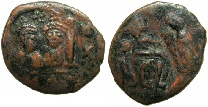 Ancient Coins - BYZANTINE EMPIRE.SICILY.Heraclius and Heraclius Constantine AD 610-641, countermark on Constantinople follis dated regnal year 22.