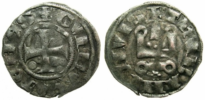 World Coins - CRUSADER.Dukes of ATHENS.Guy II of la Roche AD 1287-1308.Bi.Denier.Type 2.