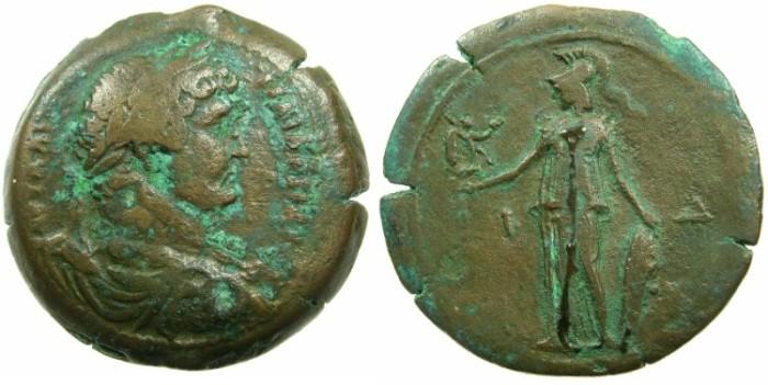 Ancient Coins - EGYPT.ALEXANDRIA.Hadrian AD 117-138.AE.Drachma, struck AD 129/130.~#~.Athena standing holding Nike.