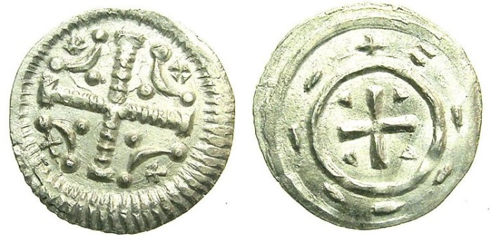 Ancient Coins - HUNGARY.Anonymous issue.AR.Dinar.12th Cent AD.