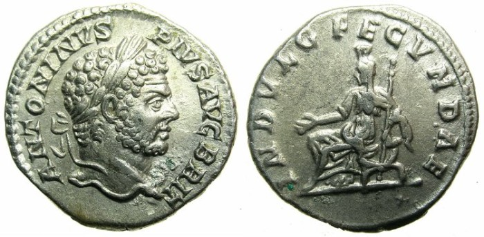 Ancient Coins - ROMAN.Caracalla Augustus AD 209-211.AR.Denarius undated Circa 210-213.~~~Indulgentia ( Julia Domna? ) seated.