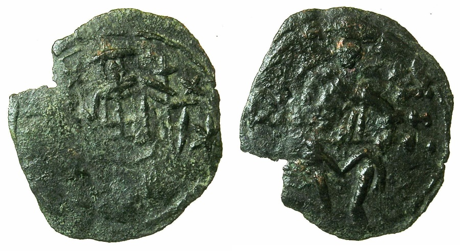 Ancient Coins - BYZANTINE EMPIRE.Andronicus III AD 1328-1341.AE.Assarion.Class VII.Mint of THESSALONIKA. ~~~.Saint Demetrius seated holding naked sword.
