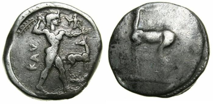Ancient Coins - BRUTTIUM.KAULONIA.Circa 480-388 BC.AR.Stater.~~~Apollo Catharius.~#~Stag.