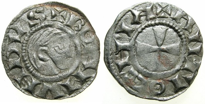 Ancient Coins - CRUSADER.Principality of ANTIOCH.Bohemond III AD 1149-1201.Bi.Denier.Class A.Minority issue AD 1149-1163.