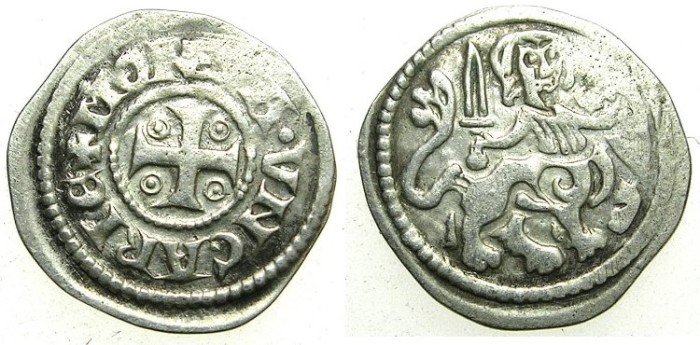 Ancient Coins - HUNGARY.Stephen V 1270-1272.AR.Denar, anonymous issue.~#~.Centaur.