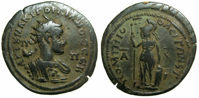 Ancient Coins - CILICIA.SOLI-POMPEIOPOLIS.Gordian III AD 238-244.AE.6 Assaria, struck AD 240/41.~#~Athena standing.
