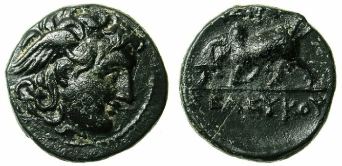 Ancient Coins - SYRIA.ANTIOCH.Seleucus I 312-280 BC.AE.20 .Winged gorgons head.Butting Bull.