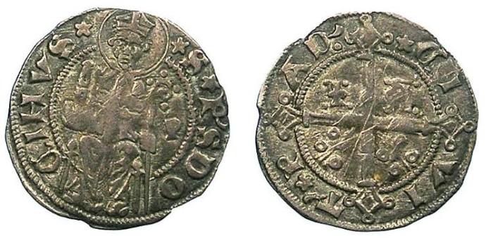 Ancient Coins - ITALY.PADOVA.Giacomo II 1345-1350.AR.Carrarino da 2 soldi.