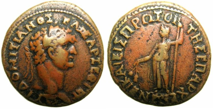 Ancient Coins - BITHYNIA.NICAEA.Domitian AD 81-96.AE.27.5mm.~~~Laurate Domitian.~#~Demeter.