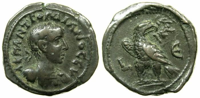 Ancient Coins - EGYPT.ALEXANDRIA.Gordian III AD 238-244.Billon Tetradrachm, struck AD 241/42.~#~.Eagle on thunderbolt.