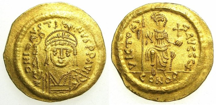 Ancient Coins - BYZANTINE EMPIRE.Justin II AD 565-578.AV.Solidus, officina Z ( 7th ).Mint of CONSTANTINOPLE.