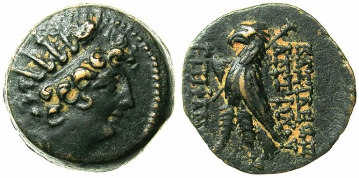 Ancient Coins - SELEUCID EMPIRE.Antiochus VIII 121-96 BC.AE.18.Radiate head.Eagle.