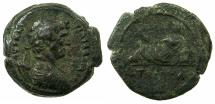 Ancient Coins - EGYPT.ALEXANDRIA.Hadrian AD 117-138.AE Hemi drachma, struck AD 128/29. ~#~.Euthenia, wife if Nilus, reclining on Sphinx.