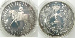 World Coins - GREAT BRITAIN.Elizabeth II 1952-.AR.Silver Proof crown.1977.Silver jubilee Commemoration