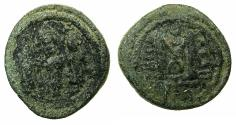 Ancient Coins - ARAB BYZANTINE.Anonymous.7th Cent AD.AE.Fals.Mint of TABARIYA (TIBERIAS ). Three standing imperial figures.