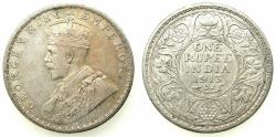 World Coins - INDIA.British Rule.George V 1910-1936.AR.One Rupee 1913 Bombay mint.