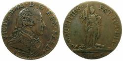World Coins - ITALY.SAVOY.Vittorio Amadeo III AD 1773-1796.AE.5 Soldi 1794.