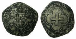 World Coins - FRANCE.Frances I AD 1515-1547.AR.Douzian a la croisette, 1st type.Mint of TROYES.Mint master Jean Hue 1544-1549