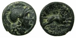 Ancient Coins - THRACE, of Kingdom. Lysimachus 306-281 BC.AE. Unit ( 18.1mm ). Athena. Lion leaping