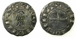 World Coins - CRUSADER STATES.Principality of ANTIOCH.Bohemond III or IV circa 1149-1223.Billon Denier.Class I. Obverse. Star and crescent erased from die.