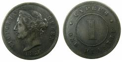 World Coins - CYPRUS.1 Piastre 1881H Thick One. ***Very Rare*** mintage 18,000