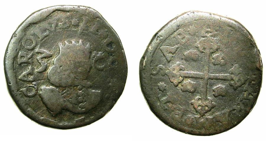 World Coins - ITALY.Carlos II of Spain, king of Naples and Sicily and Sardina 1665-1700.AE.3 Cagliaresi 1666?