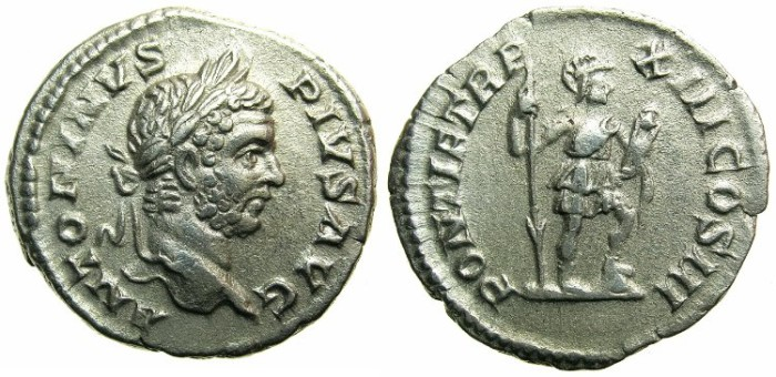 Ancient Coins - ROMAN.Caracalla Augustus AD 209-211.AR.Denarius AD 210.~~~VIRTVS  standing.