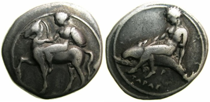 Ancient Coins - CALABRIA.TARENTUM.Circa 380-345 BC.AR.Stater.Ephebos riding left.Taras on Dolphin.**** COIN LOST/STOELN IN POST TO GERMANY.****