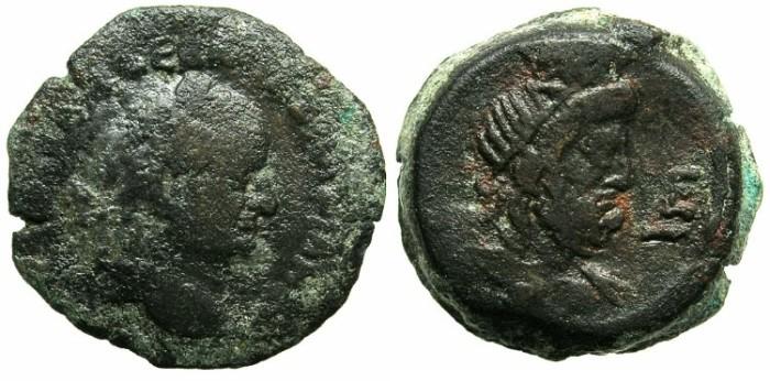 Ancient Coins - EGYPT.ALEXANDRIA.Vespasian AD 69-78.AE.Diobol.AD 72-73.Serapis.