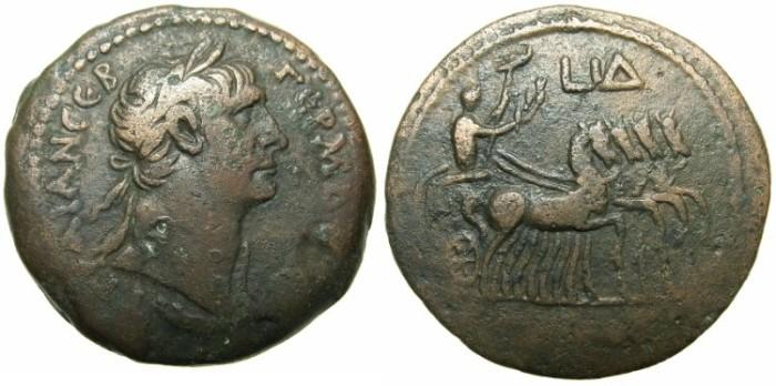 Ancient Coins - EGYPT.ALEXANDRIA.Trajan AD 98-117.AE.Drachm, struck AD 110/111.~#~Emperor in quadriga of horses.