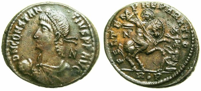 Ancient Coins - ROMAN.Constans AD 337-350.AE.Centenionalis.Mint of ROME.~~~Emperor on horse spearing two barnarians.~~~Exceptional grade.