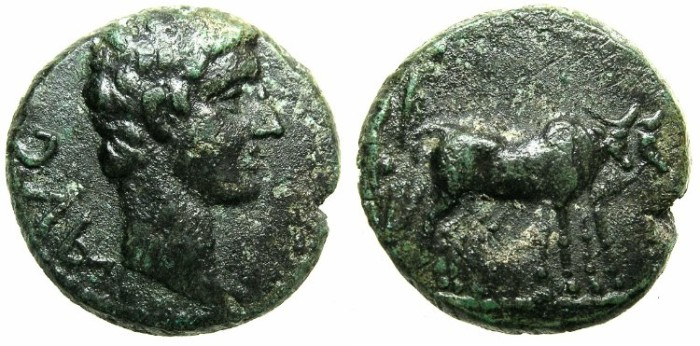 Ancient Coins - MACEDON.Uncertain Philippi?.Augustus 27 BC - 14AD.AE.18.Colonist with oxen