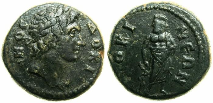 Ancient Coins - PHRYGIA.DOCIMEIUM.Autonomous,time of Septimius Severus.AE.20mm.~~~ Head of DOKIMOS, founder of the city .~#~Asklepius.
