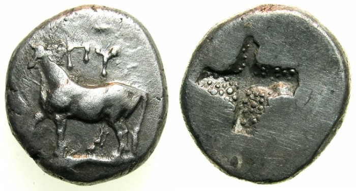 Ancient Coins - THRACE.BYZANTION.Circa 416-357 BC.AR.Half sigloi.~~~Heifer above dolphin.