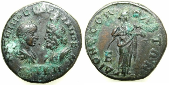 Ancient Coins - THRACE.MOESIA INFERIOR.DIONYSOPOLIS.Gordian III and Serapis AD 238-244.AE.5 Assaria.~#~Hygenia standing.