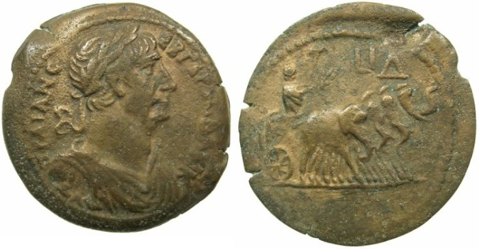 Ancient Coins - EGYPT.ALEXANDRIA.Trajan AD 98-117.AE.Drachma, struck AD 110/11.~#~Quadriga of Elephants.