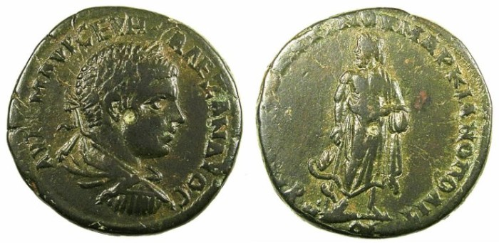 Ancient Coins - MOESIA INFERIOR.MARCIANOPOLIS.Severus Alexander AD 222-235.AE.25.Asklepios standing